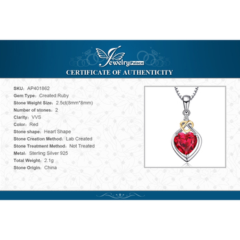 Heart Created Ruby Pendant Sterling Silver Gemstones Statement Necklace  5