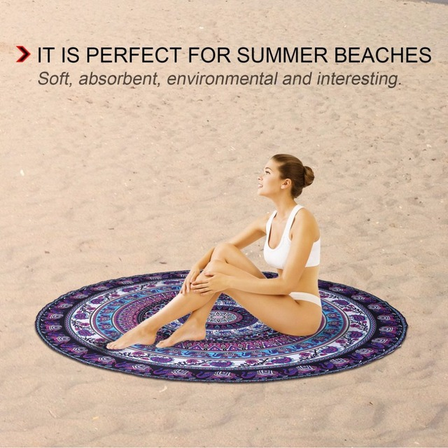 European American Round Shape Beach Towel Elephant Digital Printed Polyester Blanket Table Yoga Mat drop shipping