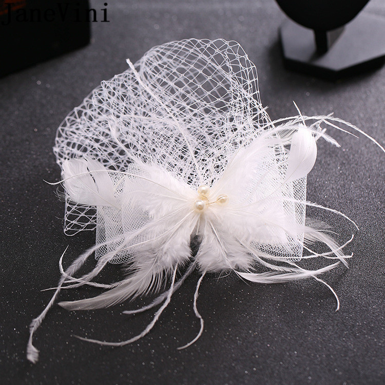 JaneVini White Feathers Fascinator Wedding Hat Bride Hair Accessories Vintage Birdcage Mesh Veil Party Hats For Women Evening