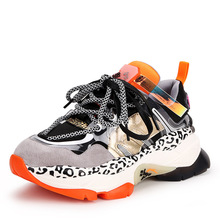 Buy Women's Leather Platform Glamour Color Matching Sneakers 2019 Spring Autumn New Fashion Comfortable Luxury Lace Casual Shoes directly from merchant!