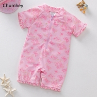 Chumhey 6 24M Baby Swimwear Infant Girls Swimwear Toddlers Kids One Pieces Long Sleeves Swimming Suit