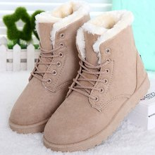 Women Boots Flock Winter Shoes Women Ankle Boots Lace Up Flats Women Shoes Botas Female