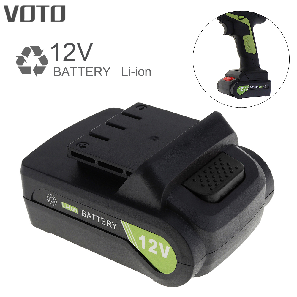 VOTO Universal 12V Max Li-ion Rechargeable Battery with Flat Push Type for Electric Drill / Electric Screw Driver lithium ion battery pack 36v li ion battery 18650 battery akku electric bike 36v 17 5ah silver fish battery for e bike