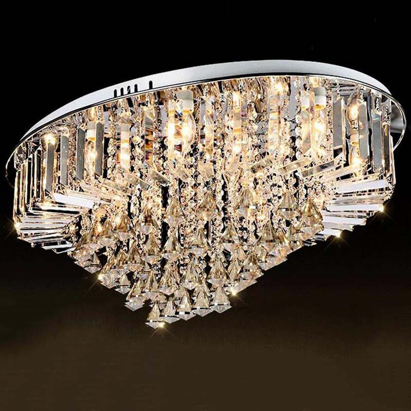 Top selling special price 100 guaranteed large modern brief ceiling crystal chandelier crystal lighting for living