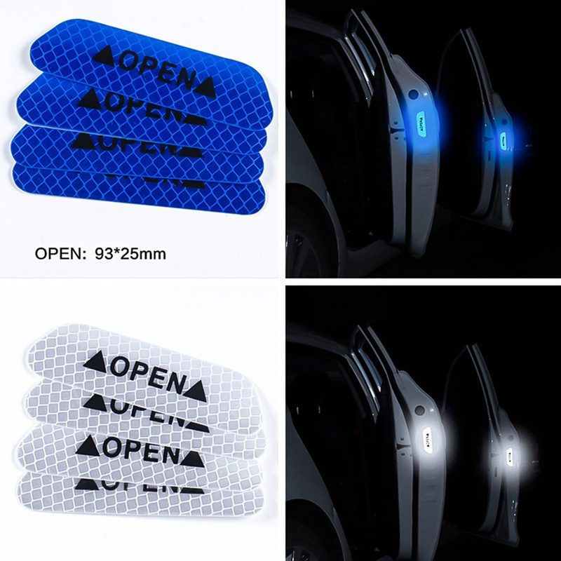 Image 5 - 4Pcs/Set Car OPEN Reflective Tape Warning Mark Reflective Open Notice Bicycle Accessories Exterior Car Door Stickers DIY-in Car Stickers from Automobiles & Motorcycles