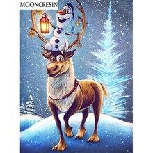 Pintura con diamantes de Navidad cuadrado completo Olaf y Reno punto de cruz Diy bordado diamante mosaico pintura estrás decoración hogar