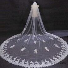 Bridal Veils 2016 velos de novia 3 Meters 2T White Ivory Sequins Blings Sparkling Lace Edge