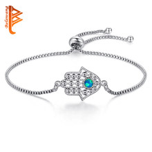 Blue Opal Crystal Lucky Eye & Hamsa Bracelet Silver Charm Bracelet Hand of Fatima Adjustable Bracelet for Women Fashion Jewelry(China)