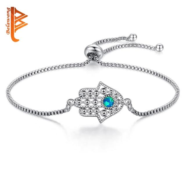 Blue Opal Crystal Lucky Eye & Hamsa Bracelet Silver Charm Bracelet Hand of Fatima Adjustable Bracelet for Women Fashion Jewelry