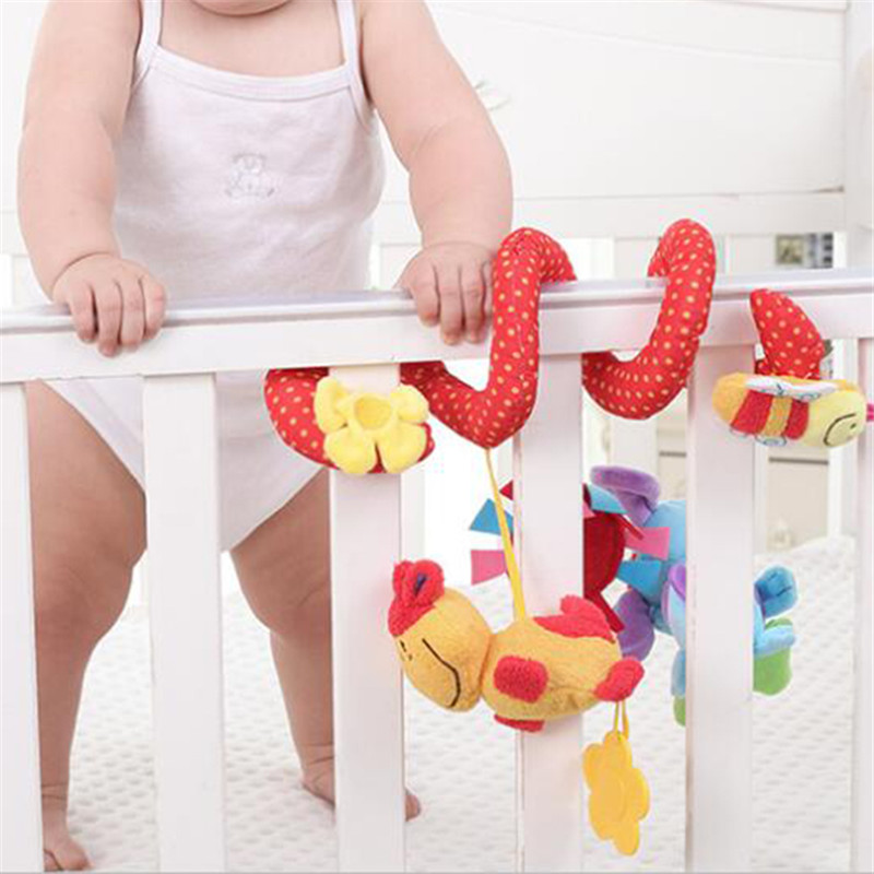 Lovely Animal Handbells Developmental Soft Plush Toy Kids Hanging Ring Mobile Musical Bed Stroller Playing Crib Baby Dolls Toy