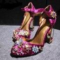 Mary Jane de La Vendimia estrella de la moda de Tacón Alto Del Partido Sexy Novia De La Boda Rhinestone Bombas Flor Hecha A Mano de Terciopelo Zapatos de Las Mujeres de Lujo
