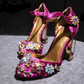 star fashion Mary Jane Vintage High Heels Party Sexy Wedding Bridal Rhinestone Pumps Handmade Flower Velvet Women Shoes Upscale