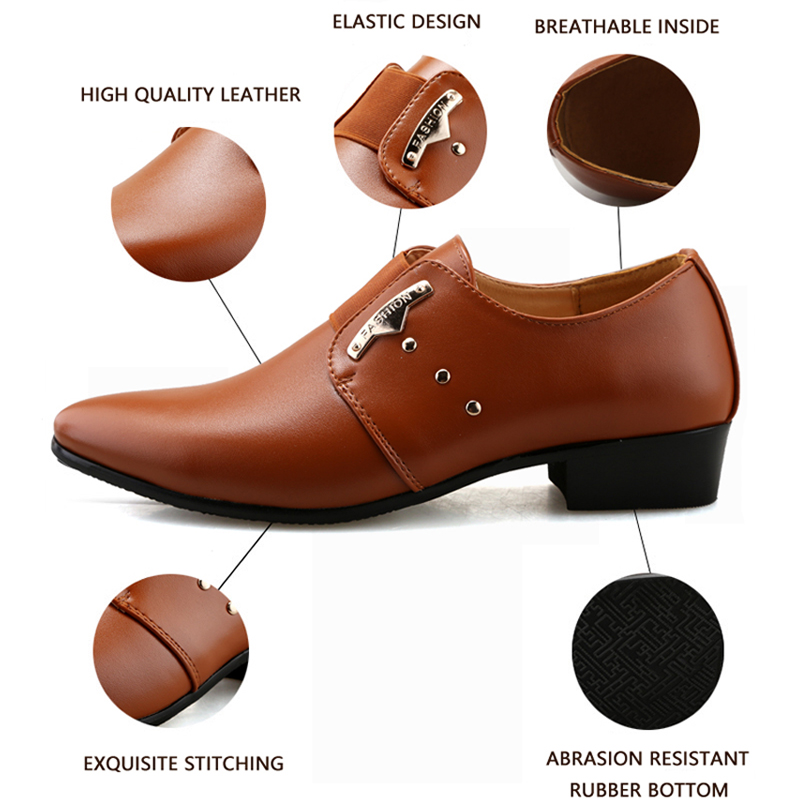 d4481a8ba1ab JUNJARM 2017 Men Formal Shoes Mens Slip On Shoes PU Leather Brown Black  Elastic Band Men Dress Shoes Office Party Wedding Shoes -in Formal Shoes  from Shoes ...