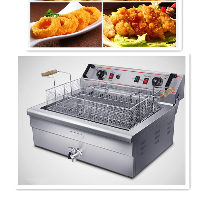 220V 4 8KW 20L Commercial Electric Deep Fryer Single Cylinder Machine With Timer Commercial Restaurant Steel
