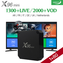 X96 mini Android 7.1 TV Box VOD Film Sport QHDTV IPTV Prenumeration 1300+ Amlogic S905W X96mini Europa Franska Arabiska IPTV Box