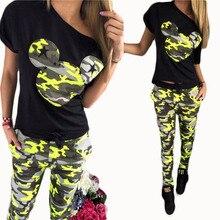 Nibesser костюмы Для женщин брюки костюм летний комплект спортивные костюмы с принтом Микки короткий рукав Футболка наряд камуфляж топ, футболка, рубашка z0