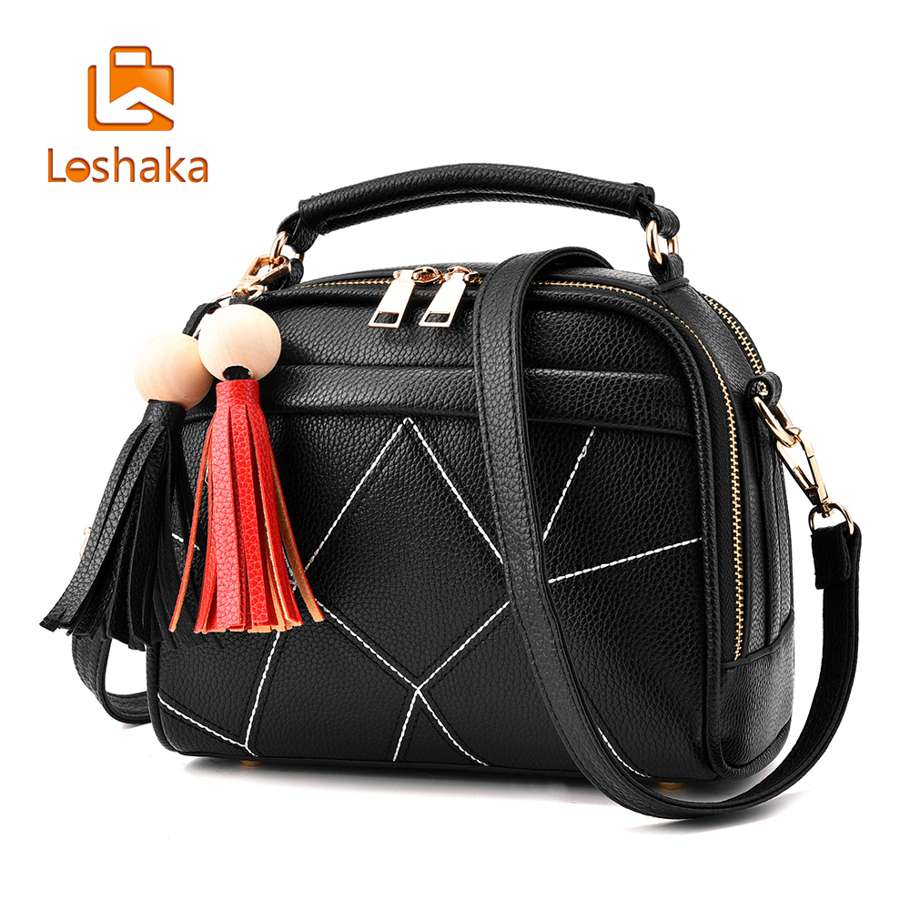 Loshaka  Brand Small Crossbody Bags for Girls Black Leather Messenger Bag Women Zipper Soft Tassel Bag Single Shoulder Bag Flap feral cat women small shell bag pvc zipper single shoulder bag luxury quality ladies hand bags girls designer crossbody bag tas