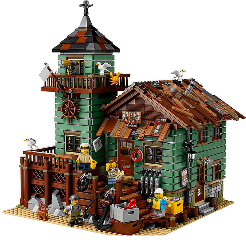 Lepin 16050 2109Pcs Creative MOC Series The Old Fishing Store Set Children Educational Building Blocks Bricks Toys Model 21310 lepin 16050 the old finishing store set moc series 21310 building blocks bricks educational children diy toys christmas gift