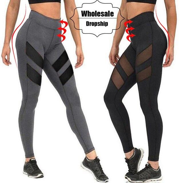 d1189df84d NINGMI Fitness Pants Women High Waist Tariner Body Shaper Tummy Control  Panties Quick Dry Mesh Tight