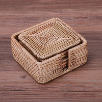 Rattan Coasters Mat Saucer Handmade Chinese Style For Kungfutea Coffe Heat Insulation