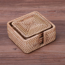 Rattan coasters mat saucer Handmade Chinese style for kungfutea coffe heat insulationdrink table mat setkitchen household