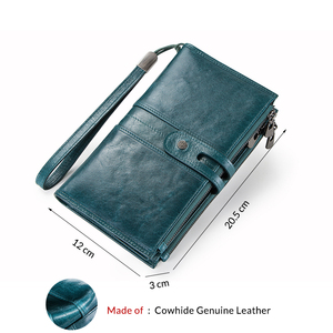 Image 2 - Contacts Genuine Leather Woman Wallets Zipper Coin Purse Female Long Clutch Money Bag For Cellphone Large Capacity Carteira