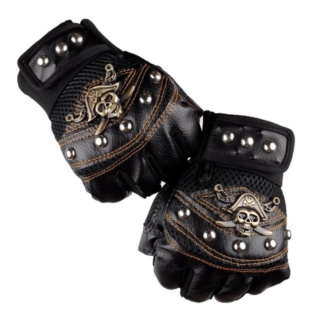 Leather Skull Biker Gloves  5