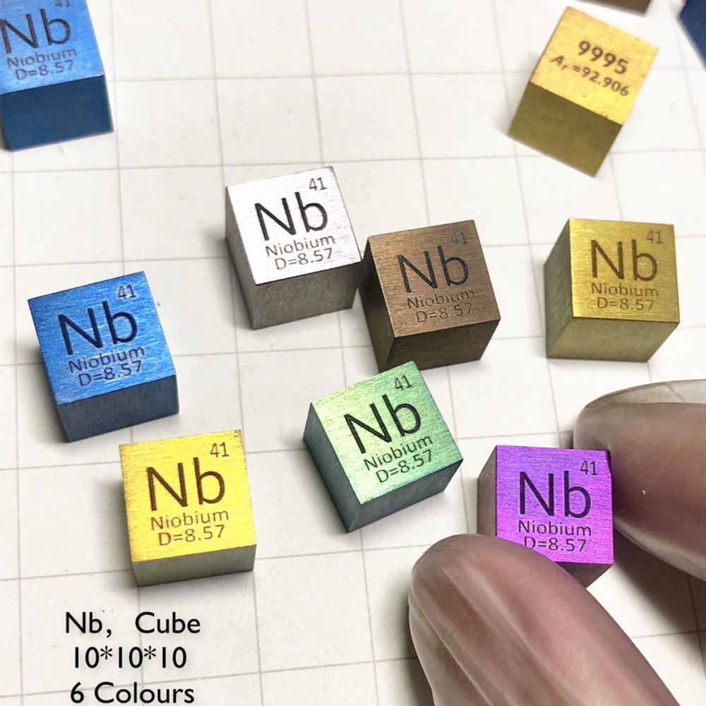 Colorful Metal Niobium Density Cube Nb 99.99% Pure for Element Collection Hand Made DIY Hobbies Crafts Display Glass Sealed цена