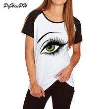 ФОТО Summer Cotton T-shirt 2018  Vogue Print T shirt Women Big Eyes Design Raglan Sleeve Tee Shirt Femme Girl Lady Clothing