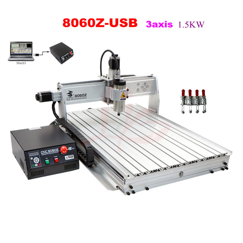 Newest CNC 8060 1500W Mach3 software USB port cnc router 3 axis drilling machine for metal stone jade cutting 1500w cnc router 8060 3axis usb port mach3 control ball screw for metal aluminum stell wood etc