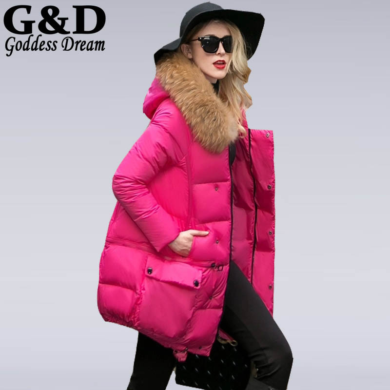 Fashion 2015 New Warm Winter White Duck Down Jacket Women Real Mink Fur Collar Hoodies Coat Long Thick Cape Parkas Mujer JD202