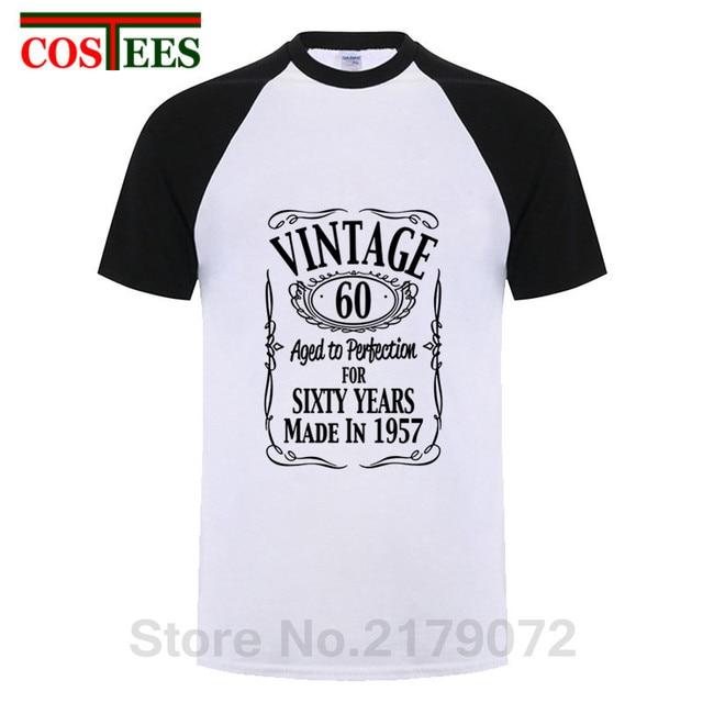 1957 Retro Style 60th Birthday Gift T Shirt Men Fathes Day Newest Design Vintage Customized Dad Tee Camiseta
