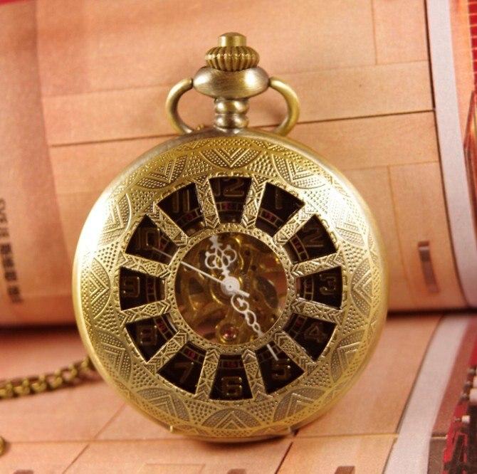 2017 drop shipping hot mens womens Retro Steampunk Black Twelve case Pendant Necklace hand wind mechanical Pocket watch watches