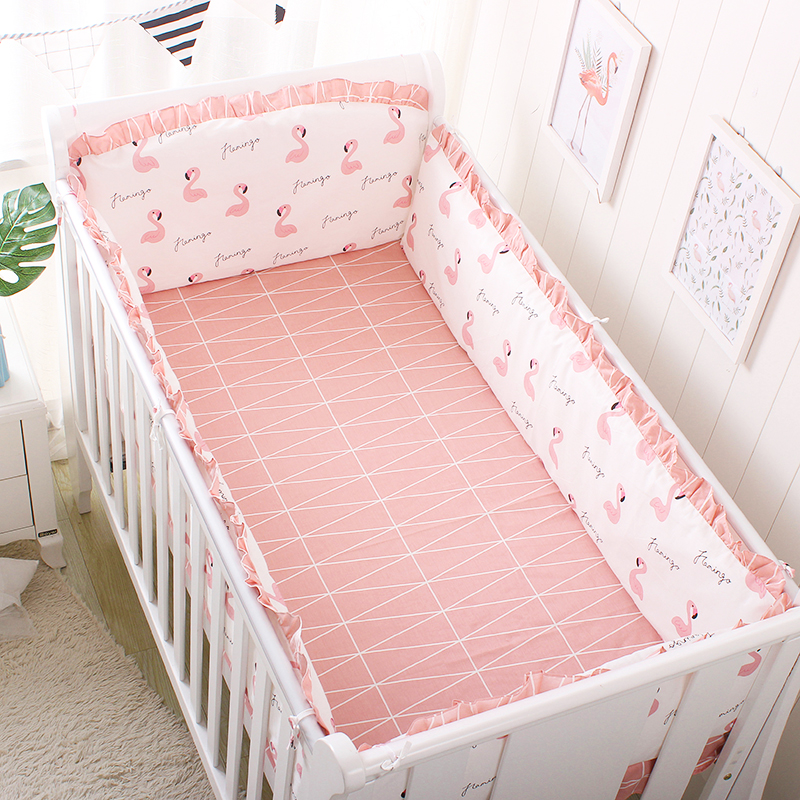 5Pcs Baby Bedding Set Cotton Lace Crib Bumper Baby Bed Linens  Washable Newborn Protect Cushion Bumper Bed Sheet Baby Bed Set