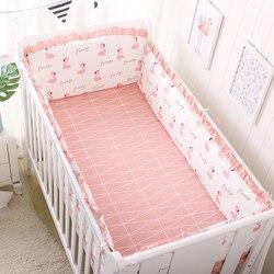 Juego de cama para bebé de 5 uds. De algodón con encaje para cuna, parachoques, ropa de cama lavable para recién nacido, protector de cuna, conjunto de cama para bebé