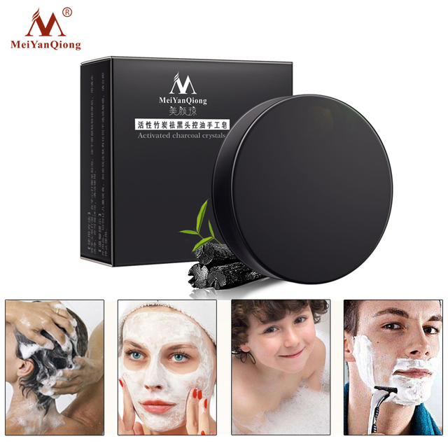 Meiyanqiong New Activated Charcoal Crystals Handmade Soap Face Skin Whitening Soap For Remove Blackhead and Oil Control Washing 3