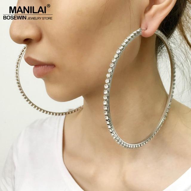 MANILAI Luxury 100mm Diameter Big Crystal Hoop Earrings Statement Jewelry  Rhinestones Earrings For Women Wedding Brincos 2018 d8bd80c1f4b3