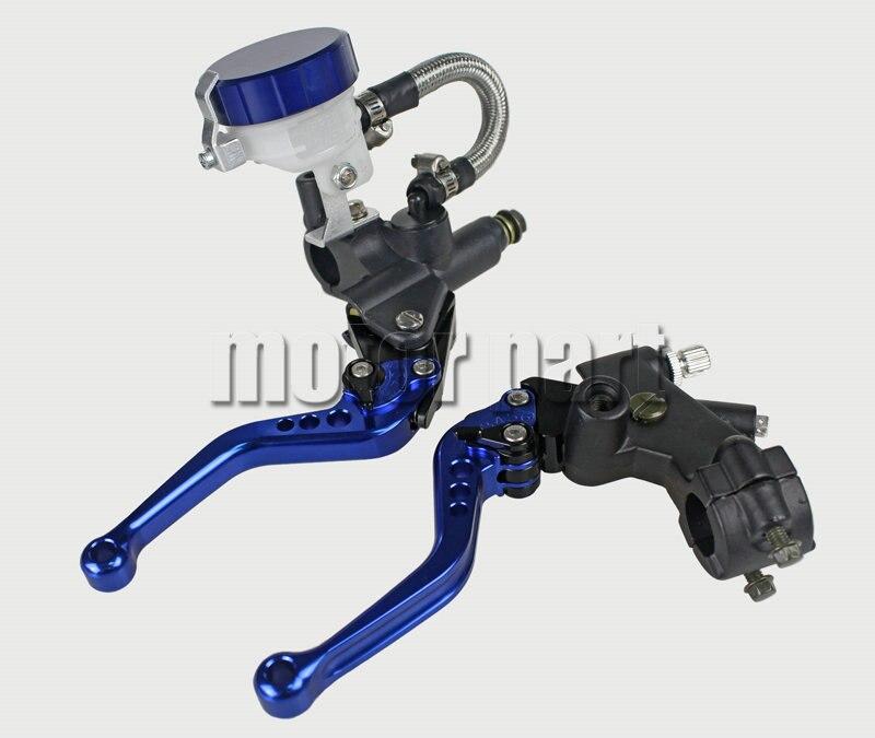 Blue Color 22mm 7/8 Universal Handlebar Adjustable CNC Brake Clutch Levers Master Cylinder Kit With Reservoir Set For Suzuki 38mm cylinder barrel piston kit