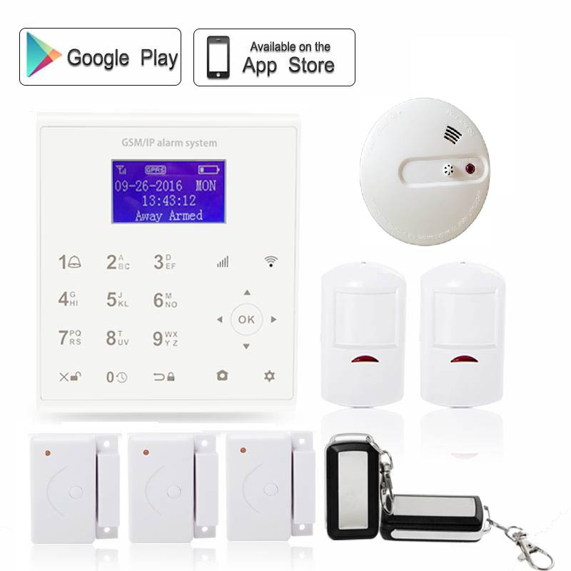 433mhz Wireless quad band 2.4G wi-fi GSM GPRS security alarm system kit Android/IOS APP control with heat+smoke sensor f04305 sim900 gprs gsm development board kit quad band module for diy rc quadcopter drone fpv