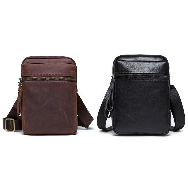 Fashion Men Genuine Leather Wallet Waist Phone Pouch Case Card Holder Zipper Belt Shoulder Crossbody Bag 2020