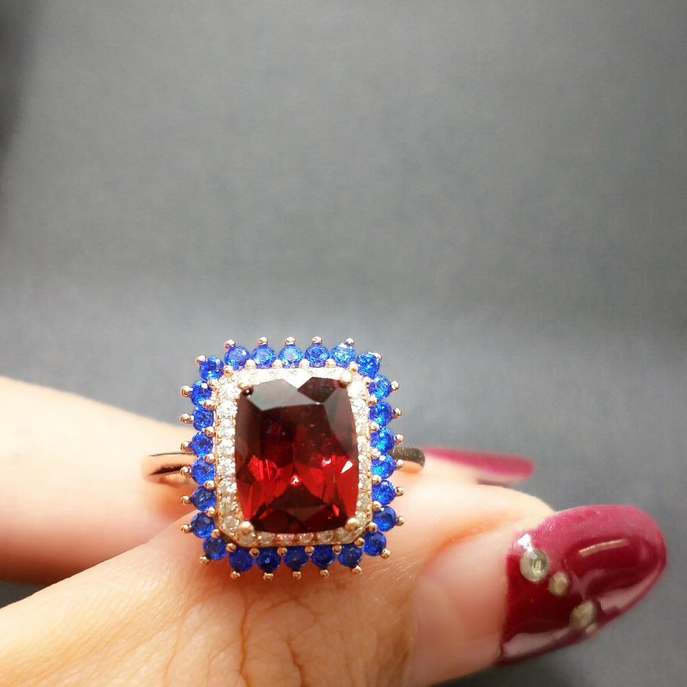 FLZB Natural garnet in 925 sterling silver ring special ring for party girl natural garnet with
