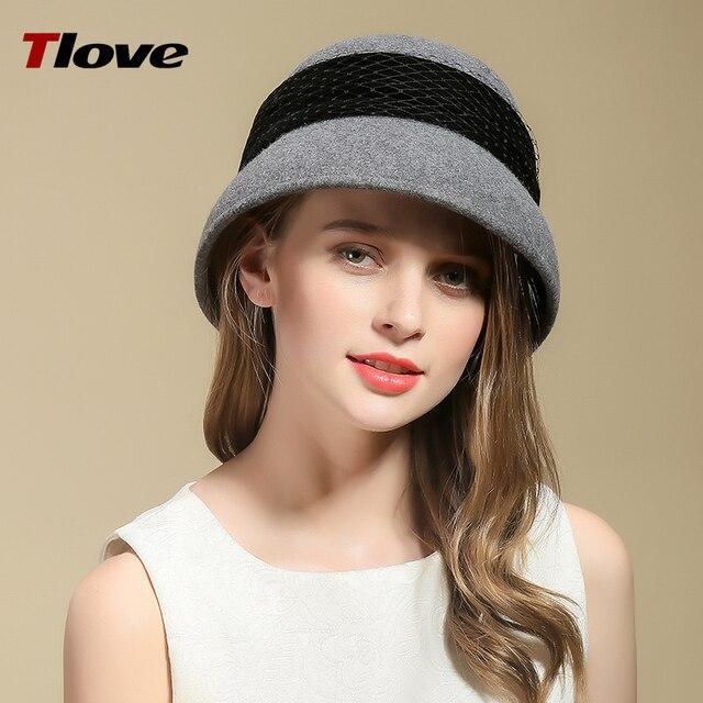 Tlove Trendy Winter Church Hat Cashmere Floppy Ladies Homburg Cloche Felt  Hat 2781 1242e80ddde
