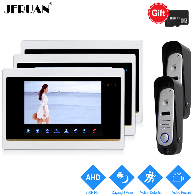 JERUAN 720P AHD HD Motion Detection 7`` LCD Video Door Phone Unlock Intercom System 3 Record Monitor +2 HD 110 degree Camera 2V3 yagnob hd 110