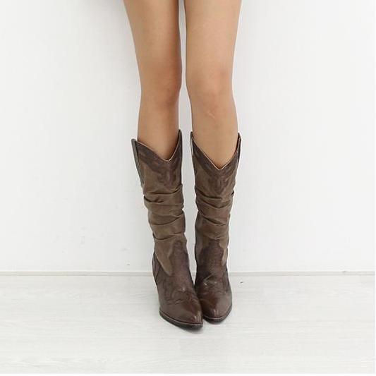 XingDeng fille talon carré chevalier bottes femmes marque concepteur bout pointu bottes occidentales dame Vintage sculpture boucle mi-mollet chaussures