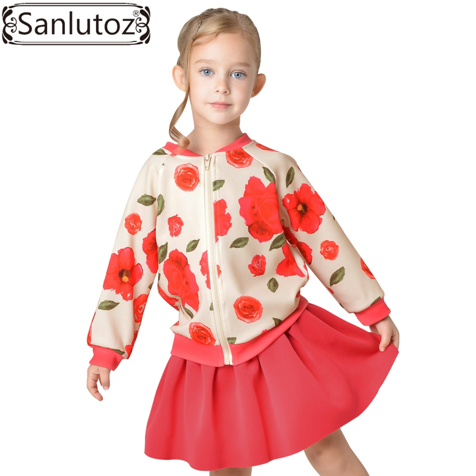 Sanlutoz Flower Kids Clothes for Girl Winter Suit Sport Children Girl Clothing Set Tracksuit (Jacket + Skirt) Christmas Red 2016