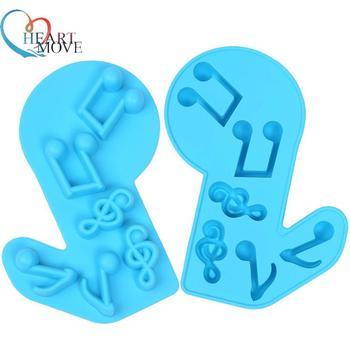 Moldes de silicona con forma de notas musicales 3D para Tartas, moldes DIY para cubitos de hielo de cocina, moldes para jabón de Chocolate, utensilios de repostería de Color aleatorio 9485