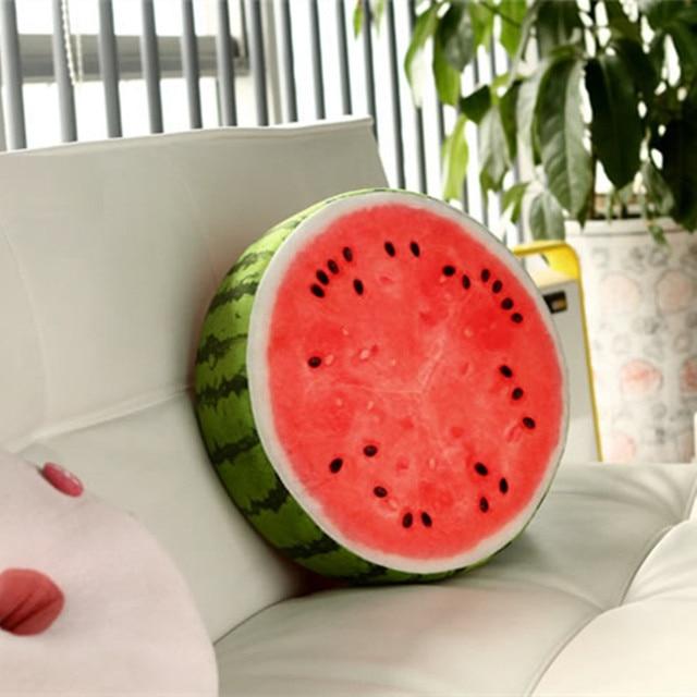 1Piece Personality Fruit Pillow Cushion 3D Stuffed Pillows Watermelon Kiwi Orange Shaped Fruit Seat Pillow Gifts