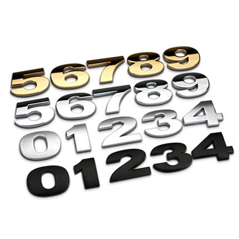 45mm 0-9 DIY 3D Black Silver Car Emblem Sticker Alphabet Letter Number Symbol Auto Badge Decals Metal Chrome Car Styling mayitr metal 3d black limited edition sticker universal car auto body emblem badge sticker decal chrome emblem car styling