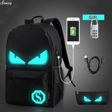 College Backpack Pupil Luminous Animation College Luggage For Teenager USB Cost Pc Anti-theft Laptop computer Backpack quick ship