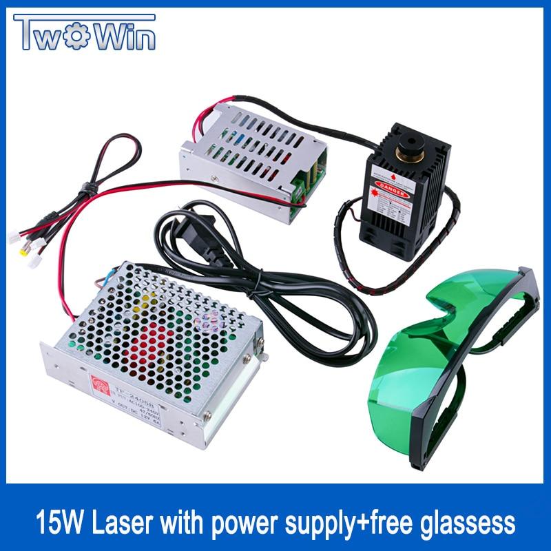 Haute Puissance Diode Laser 15 W/15000 mW Focalisables Laser Bleu Module 450nm avec TTL Pilote pour laser cutter machine de gravure cnc